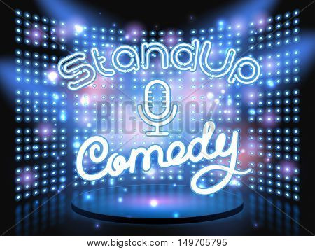 stand up comedy neon lettering live stage on background with lightbulb glowing wall. Vector abstract background