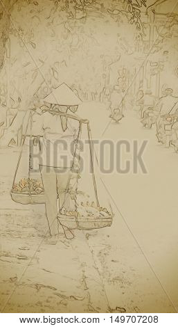 Vietnamese street vendors in Hoi An, Vietnam. Vintage painting, background illustration, beautiful picture, travel texture