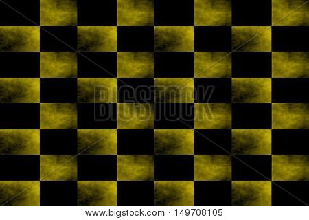 Illustration of an abstract yellow and black chessboard