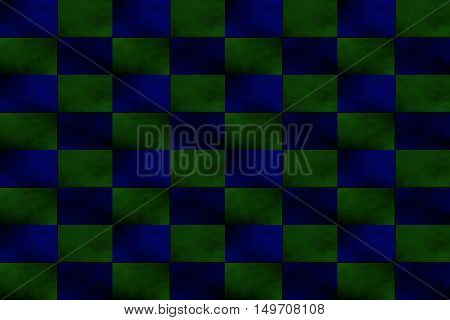 Illustration of an abstract dark green and dark blue chessboard