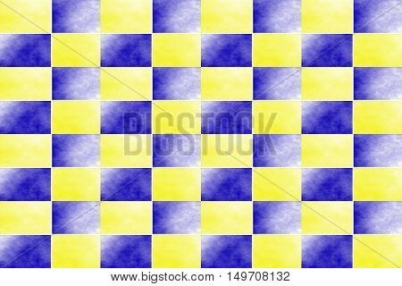 Illustration of an abstract dark blue and yellow chessboard