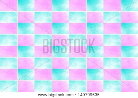 Illustration of an abstract cyan and pink chessboard