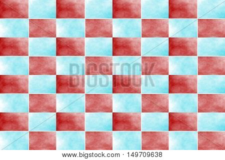 Illustration of an abstract cyan and red chessboard