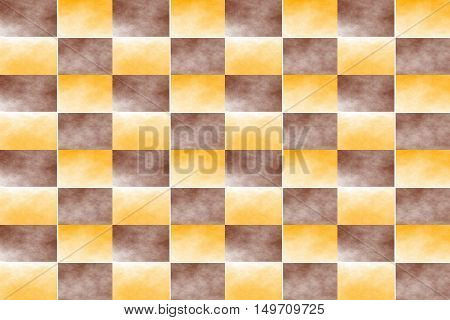 Illustration of an abstract orange and brown chessboard