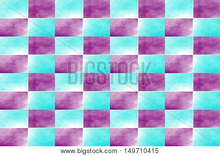 Illustration of an abstract purple and cyan chessboard