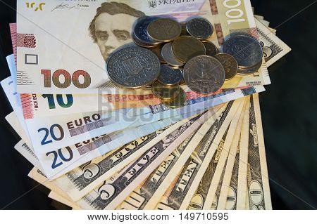 Euro Banknotes with euro coins Euro Money