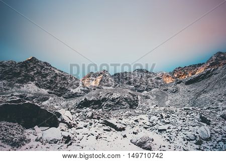 Rocky Mountains Landscape on sunset winter Travel serene scenic view snowy weather
