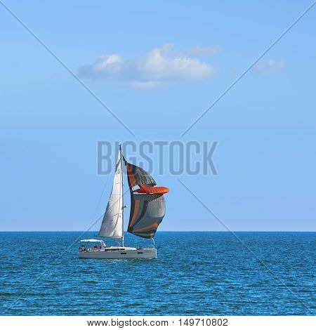 VARNA BULGARIA - September 30 2016: Yacht Cassiopeia in Regatta