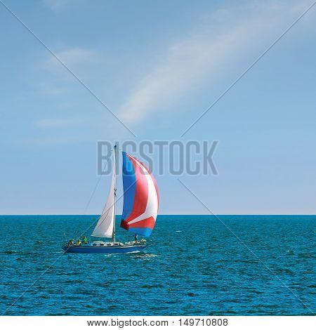 VARNA BULGARIA - September 30 2016: Yacht Aquarius in Regatta