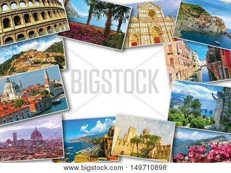 The collage from photos of Italy on white background