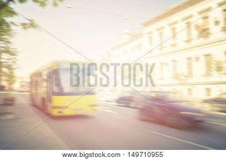 Civil traffic in city rush hour. Blurred image.