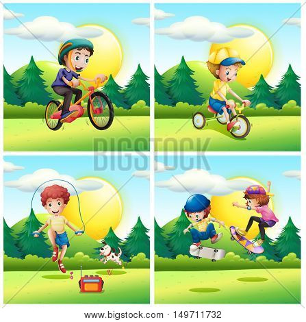 Scenes with kids exercising in the park illustration