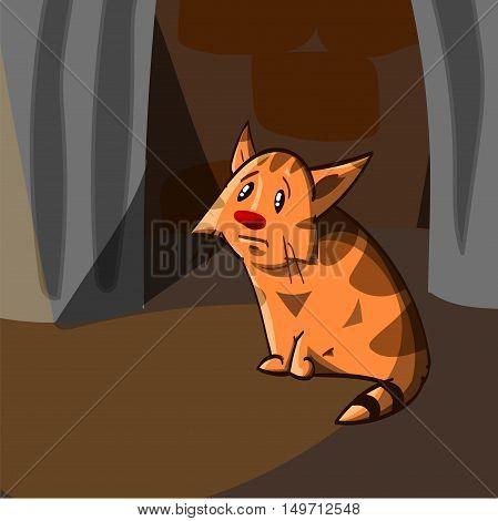 Cartoon illustration of a stray lost orange kitten standing on the street behind the dumpters looking sad.