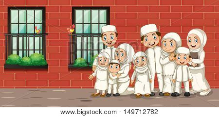Muslim family in white costume illustration