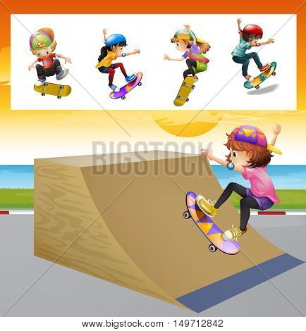 Kids playing skatboard on the ramp illustration