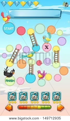 Game template with birds in the sky illustration