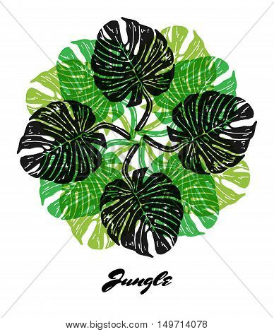 Jungle mood engraved fractal outlet composition. Bright colored composition with Jungle flora. Vector Illustration.