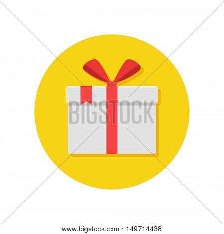 Gift or present box icon with red ribbon and bow vector isolated on white background. Icon gift box for Christmas or a birthday party in a flat style.
