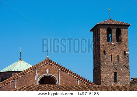 The famous and ancient basilica of Saint Ambrose (Sant'Ambrogio 379-1099) in Milano Lombardia Italy