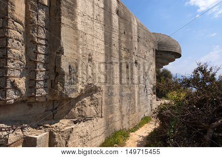 Abandoned bunker of the Second World War (WWII) in the Gulf of La Spezia Liguria Italy