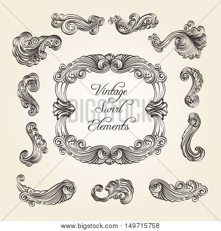 Collection of vintage flourishes and swirls. Scroll elements for frame corner and divider design. Vector illustration.