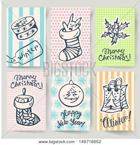 Set of greeting cards for winter holidays in a retro style. Vector illustration.