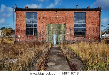 Brick building abandoned roundhouse in Gniezno in Poland