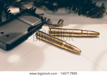 Ammunition for rifle with a magazine. Rifle bullets.