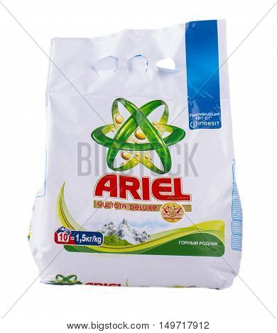 Petropavlovsk-Kamchatsky Russia-24 September 2016: Ariel is a laundry detergent product the flagship brand of Procter & Gamble corporation headquartered in Cincinnati Ohio USA.