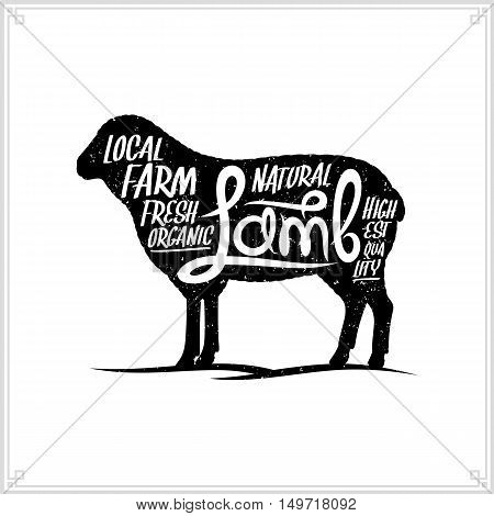 Retro Styled Vector Lamb Meat Label