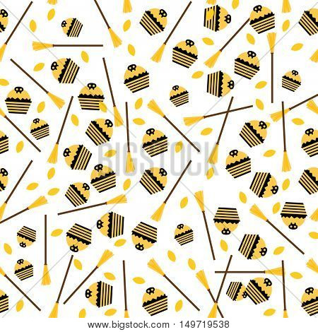 Pattern with Cake, Leaves and Broom