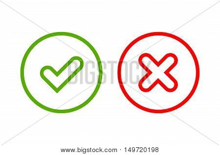 Tick and cross signs. Green checkmark OK and red X icons isolated on white background. Simple marks graphic design. Circle symbols YES and NO button for vote decision web. Vector illustration