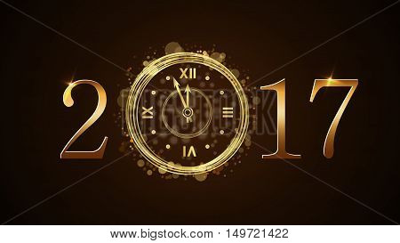 Happy New Year background with magic gold clock countdown. Golden numbers 2017. Christmas night design light and glitter. Symbol of wish celebration. Luxury greeting decoration. Vector illustration