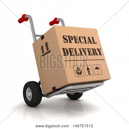 special delivery 3d illustration isolated on white background