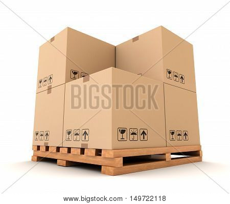 cardboard boxes 3d illustration isolated on white background