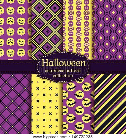 Happy Halloween! Set of seamless backgrounds with pumpkins skulls bats crosses and abstract geometric patterns. Vector collection in purple black and yellow colors.