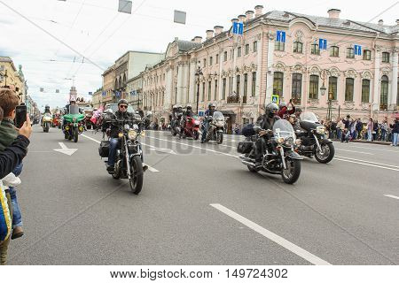 St. Petersburg, Russia - 13 August, Harley Davidson Parade on Nevsky Prospekt,13 August, 2016. The annual parade of Harley Davidson in the squares and streets of St. Petersburg.