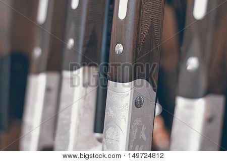 Hunting shotgun Close up. Hunting rifle. Hunt