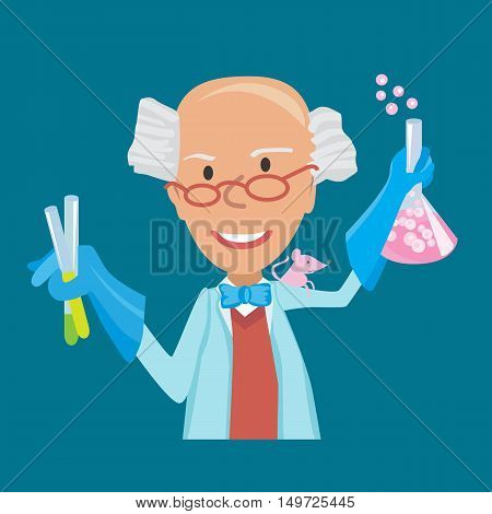 Vector illustration of Cartoon Scientist doing experiments