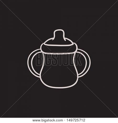 Baby bottle with handles vector sketch icon isolated on background. Hand drawn Baby bottle with handles icon. Baby bottle with handles sketch icon for infographic, website or app.