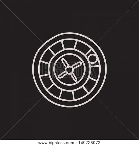 Roulette wheel vector sketch icon isolated on background. Hand drawn Roulette wheel icon. Roulette wheel sketch icon for infographic, website or app.