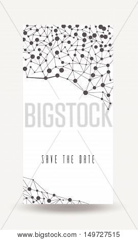 Save the date card cover with connections background. Stock vector.