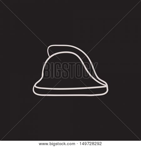 Firefighter helmet vector sketch icon isolated on background. Hand drawn Firefighter helmet icon. Firefighter helmet sketch icon for infographic, website or app.