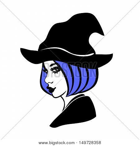 3-color vector illustration of young & attractive witch with full lips blue hair and bob haircut wearing hat isolated on white background. Girl in hag's costume graphic element for halloween design