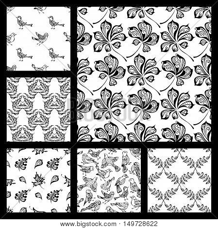 Hand-drawn black linear birds and leaves on white background. Oak, maple, birch, rowan, chestnut leaves. Duotone boundless backgrounds.