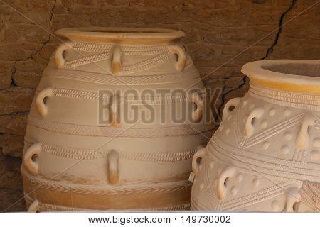 Big ancient vase in the ruins of Crete island Greece.