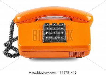Orange phone with shadow on a white background