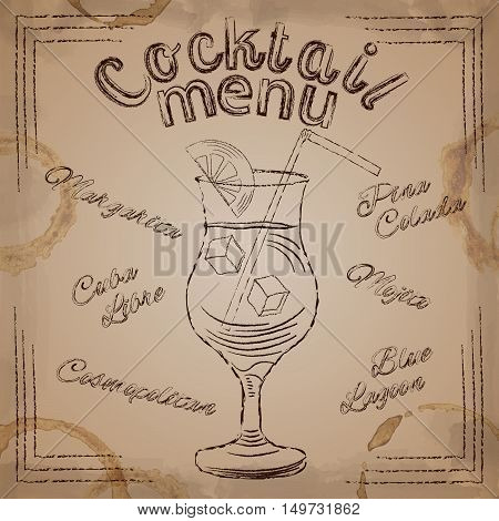 Brown lettering Cocktail menu with glass drawing on beige vintage backgound with spots vector illustration