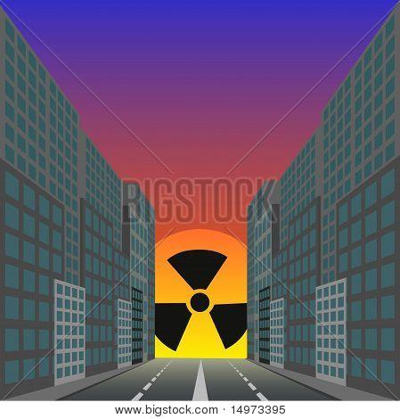Dead city against the ascending radiation