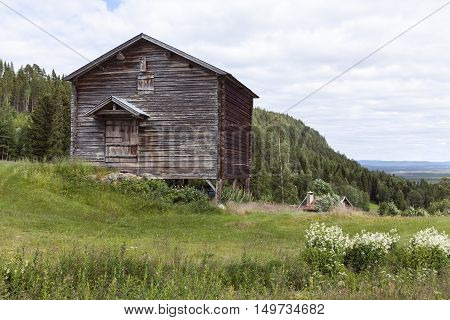 Wooden barn, timber building this side a hill. Environment in rural countryside. Farmland and plants, forest in the background.